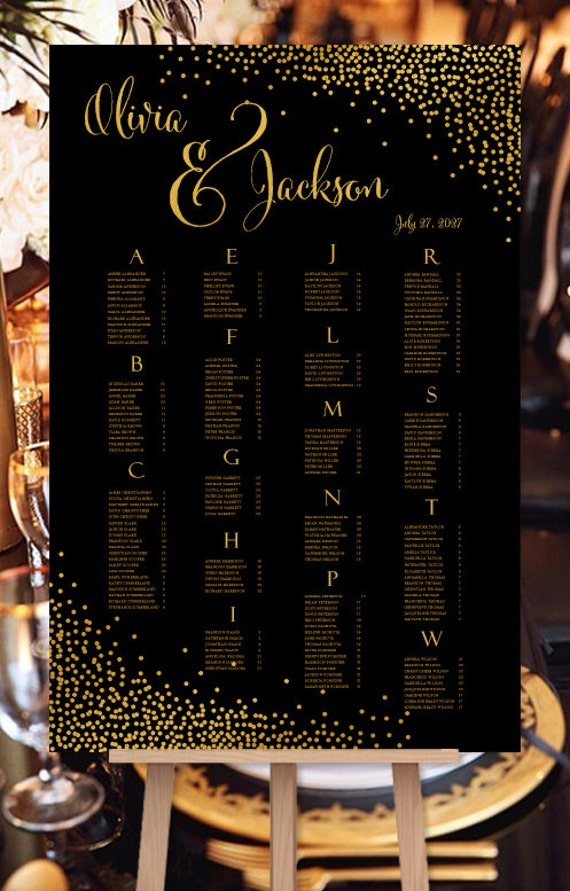 wedding seating plan confetti black w  gold foil