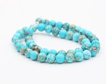 Turquoise Blue Sea Sediment Jasper Beads -- Smooth Loose Round Ball Bead Wholesale 2mm 4mm 6mm 8mm 10mm MHA-151