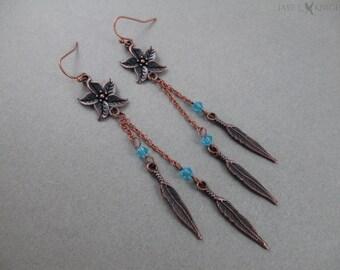 Flower Feather Earrings - Copper