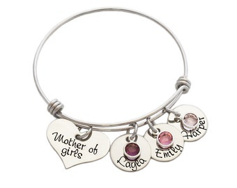 Personalized Bracelet -Mother Of Girls - Mother Of Boys - Adjustable Bangle - Shiny Stainless Steel - Wire - Mom Jewelry - Mother Daughter