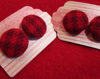 Covered Buttons; Red Wool-covered Buttons; 4 Wool Buttons