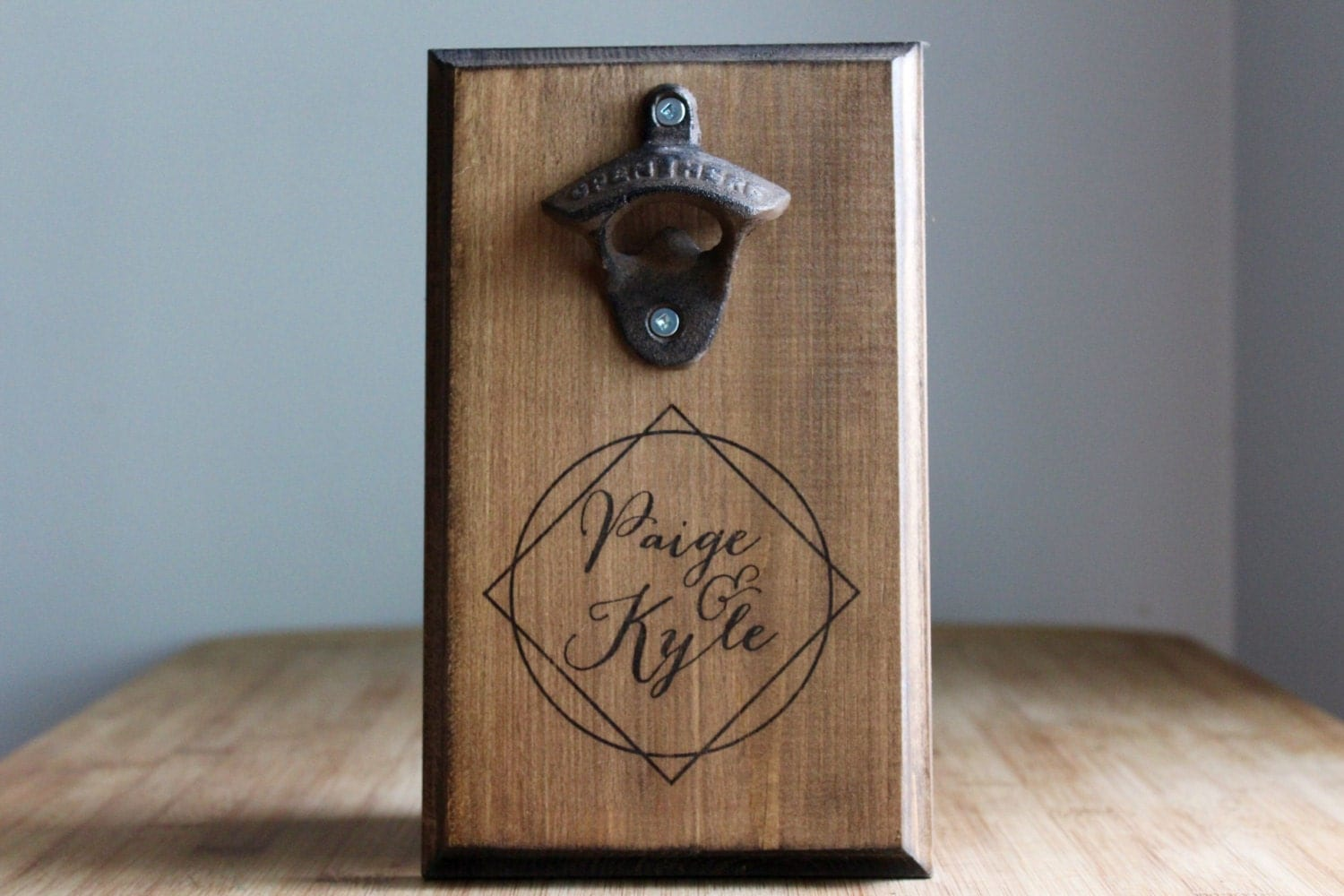 Personalized wall mount bottle opener rustic wedding - Personalized wall mount bottle opener ...
