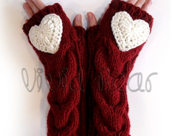 Heart Knitted Cabled Fingerless Gloves. 44 Colors. Valentine Day Gift. Warm Accessory for Women and Teens.