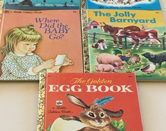 Choose One: Little Golden Books Rudolph, Santa's Toy Shop, Where Did The Baby Go?, Jolly Barnyard, The Golden Egg Book