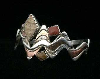Crazy Cool Copper and Sterling Relios Bracelet Cuff with Tiger's Eye and Jasper by Carolyn Pollack