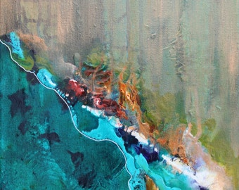 Copper Coast, Original Acrylic Painting, Abstract, Teal, Copper, Turquoise, Red, Vivid Color