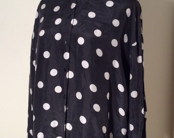 Vintage Early 1990s The Limited Black and White Polka Dot Dolman Sleeve Silk Blouse, Size L