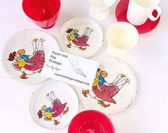 Vintage PLAY DISHES: 10-Piece Lot featuring 1960s or 1970s children's illustrations; plates, saucers, cups, more T6