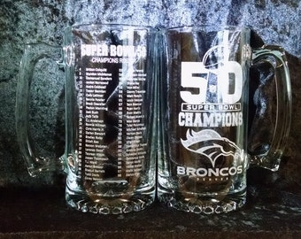 Denver BRONCOS Super Bowl 50 Champions 27 oz Beer Mug w/Team Roster