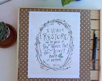 Art Print - Joel 2:25 - Restore - Scripture Art