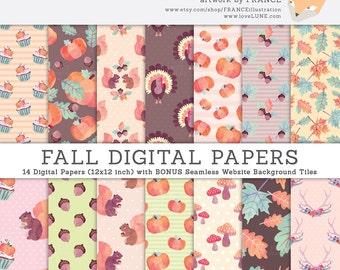 Fall Autumn Digital Papers. GET 3 FOR 2. Thanksgiving Watercolor Pumpkin, Squirrel, Cupcake, Acorn, Leaves, Leaf, Turkey. Polka Dots. CA005.