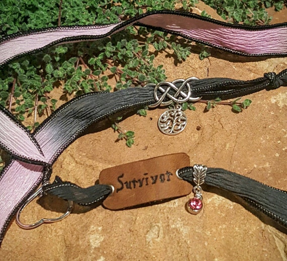 Survivor - Silk Wrap Bracelet with LEATHER Charm