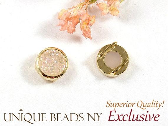 AB Druzy Round Slide Charm, Druzy Pendant, White AB Druzy, Natural Titanium Agate Drusy Gemstone, 14K Anti-Tarnish Plating  - 1 pc/ pkg