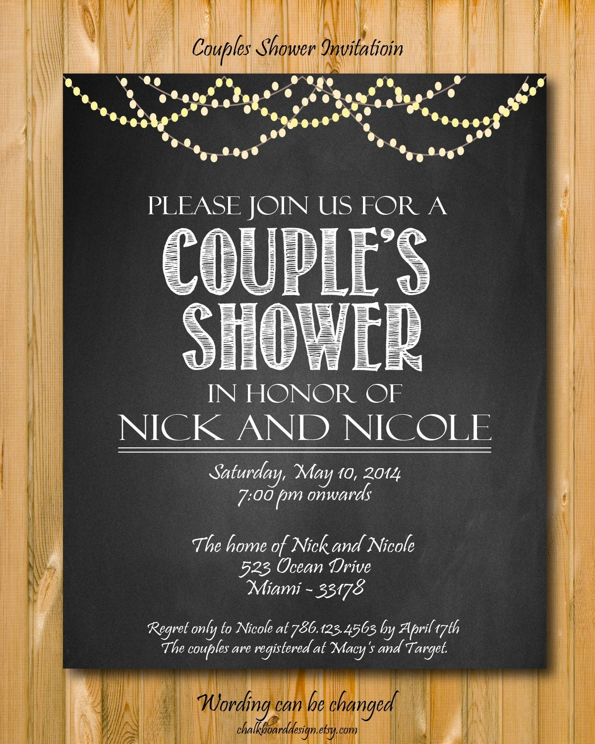 Printable Couples Shower Invitation DIY Party Invitation