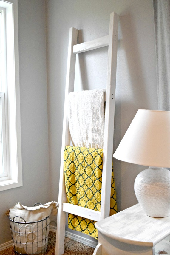 Blanket Ladder Wood Quilt Ladder White Blanket By Stumpandtwig