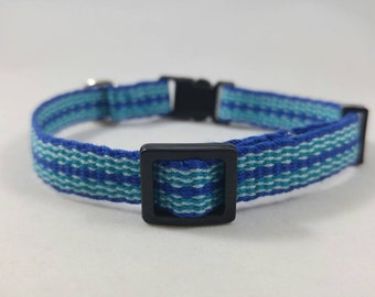 Breakaway Cat Collar - Handwoven; Safety buckle; Adjustable  - All the brightest blues; Optional tag