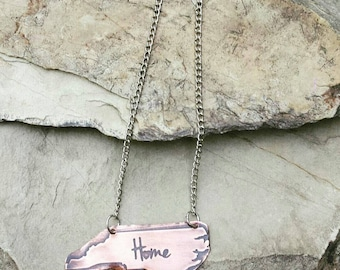 """Etched Copper State Necklace  on 18"""" Chain"""