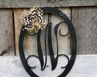 Initial Door Hanger - Personalized Door Hanger - Monogram Wreath - Personalized Door Decor - Personalized Gift