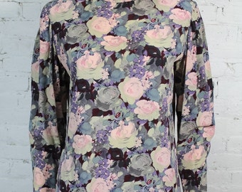 1980s Ungaro Parallele Blouse Classic Floral Rose Print Pink Top 10