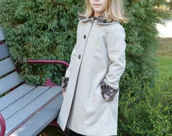 Girls Heathered Grey Wool Dress Coat. Toddler Girls Big Girls