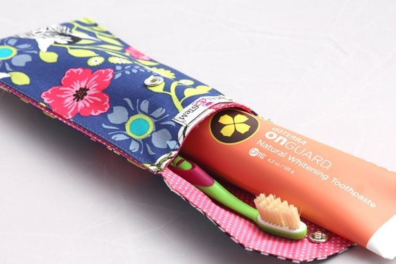 Zebra Flowers Toothbrush pouch, Pencil Case, Make up - doTERRA On Guard Sample included!