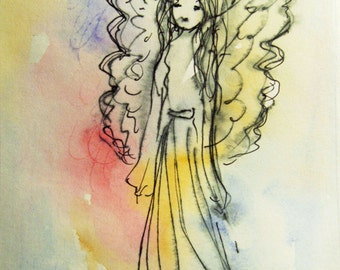 Watercolor Angel Painting Art Print, Birthday Gift, Gift Idea, Gift for her, Gift for Mom, Romantic Gift, Nursery Decor