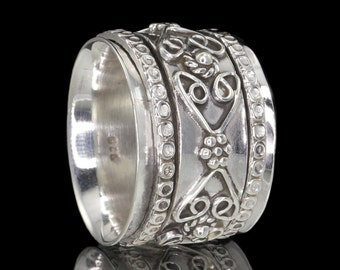 925 Sterling Silver Granulated Wire Work Meditation Spinner Ring - US 7.5 (Aus. & UK Size O 1/2) #321
