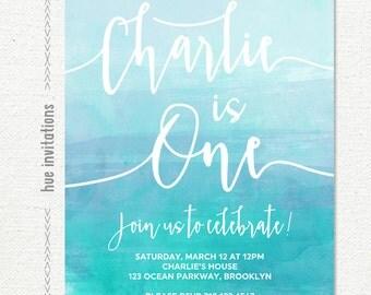1st birthday invitation for boy or girl, blue teal watercolor birthday invitation, ombre watercolor customized digital printable invite