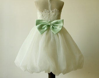 Lace Flower Girl Dress Birthday Party Gown Bubble Hem with Pearls