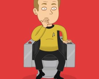Star Trek Print - Kirk - Original Series - Geeky - Red