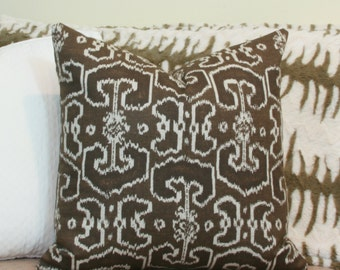 Brown ikat pillow cover 18x18 20x20 22x22 24x24 26x26 Euro sham brown Lumbar pillow 12x20 14x26 16x24 16x26 Brown pillow Mocha Chocolate