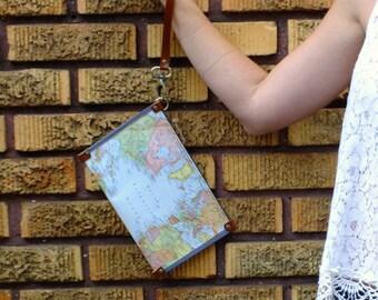 Wristlet: Vintage World Map