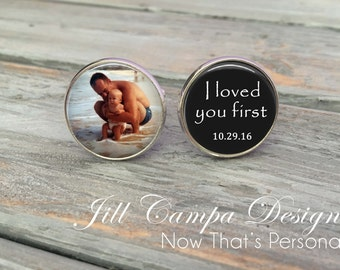 Father of the Bride Cufflinks - I loved you first - Custom Photo Cuff Links - Cufflinks - Cuff Links - Father of the bride cuff links
