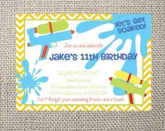water gun invitation  etsy, Party invitations