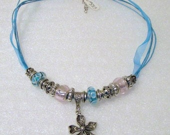 883 - NEW Aqua Beaded Necklace