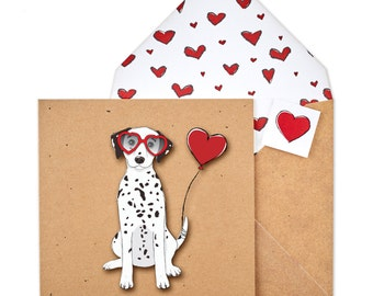 Personalised Handmade Dalmatian Card | Anniversary | I Love You | Valentines Card