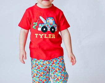 Boy's Tow Truck Birthday Shirt with Number and Embroidered Name