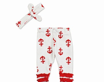 Newborn Sailor Outfit - Red Anchors - Sailor Outfit- Clothing Set