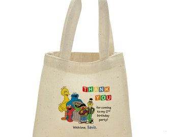Personalized Mini Cotton Tote Bag - Sesame Street Birthday favor bag