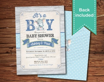 Elegant Elephant Baby Boy Shower Invitation. Rustic Wood Baby Boy Couples Coed Baby  Shower Digital Invite