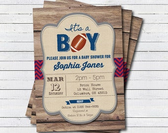Football baby shower invitation. It's a boy, rustic wood American football sport theme couples baby shower. printable invite B106