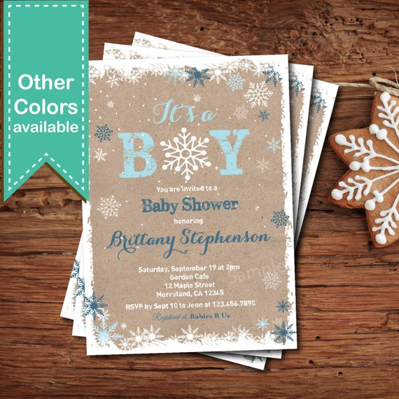 Items Similar To Winter Baby Boy Shower Invitation. Rustic Wood, Chalkboard Or Kraft Paper