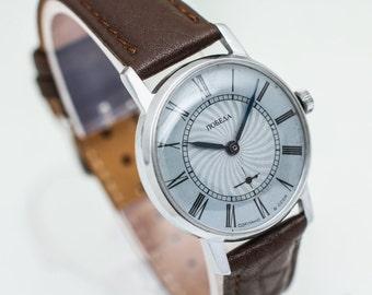 Vintage mens watch Pobeda – soviet wrist watch men – brown leather watch –mechanical watch – gift for him 80s