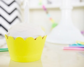 NEON YELLOW Cupcake Wrappers - Set of 24