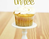 "Gold Glitter Number Three Cupcake Toppers - 12 Handmade Food Picks 2.3"" wide - Fine gold glitter cardstock - Birthday number cupcake toppers"
