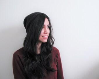 Slouchy Knit Hat Simple Wool Beanie // Haldir Hat // Charcoal