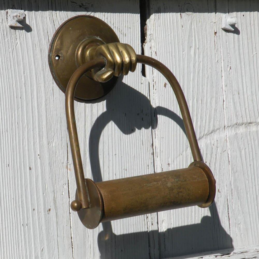 French Vintage Toilet Paper Holder Brass Toilet Roll Holder