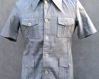 Men's Grey Button Up Shirt with 4 Pocket Detail