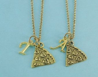 Two Pizza necklaces on stainless steel chains.  Best friends.  Mother Daughter. Pizza Necklaces.  Best friend necklace.  Best friend gift