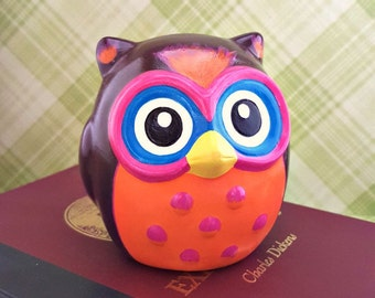 Brown Pink and Orange Handpainted Owl Figurine, Owl Nursery Decor, Retro Colored Owl